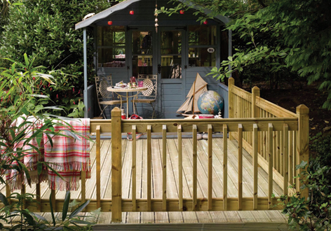 Decking and summer house