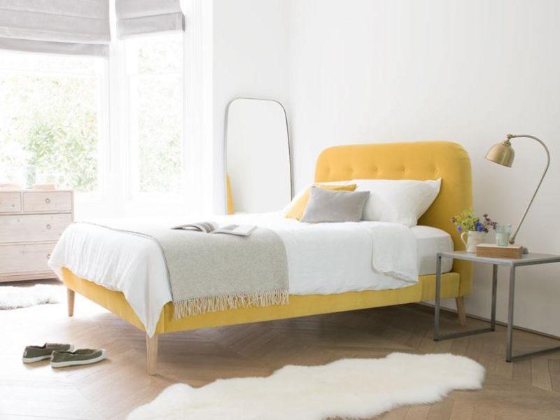 yellow velvet bed