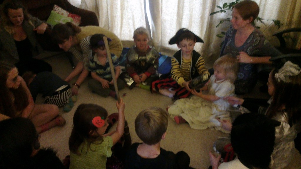 Trick or treat pass the parcel