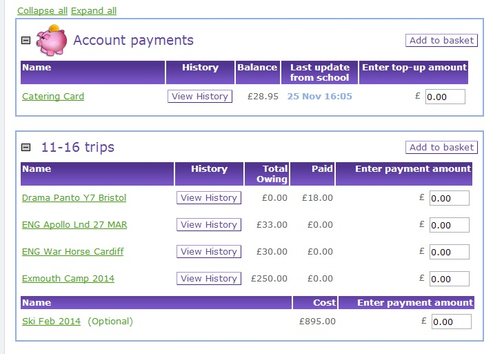 Cost of school trips