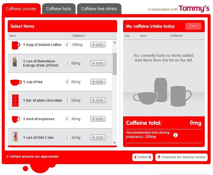 Coca-Cola caffeine calculator