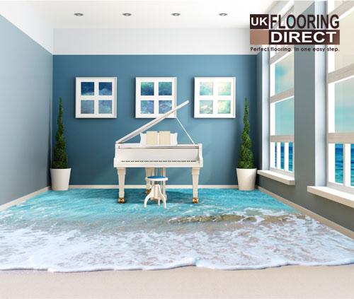 Printed beach floor