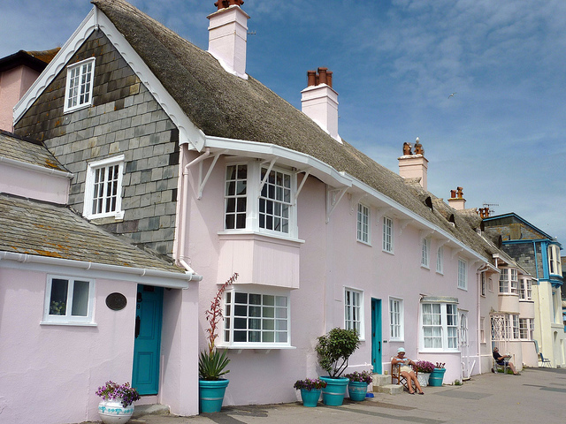 pink and turquoise cottage Lyme Regis
