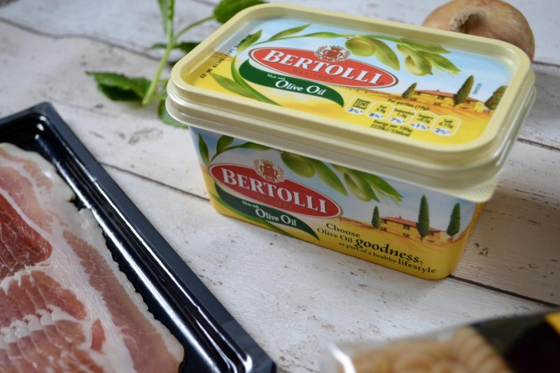 easy pasta recipe with peas and pancetta and bertolli