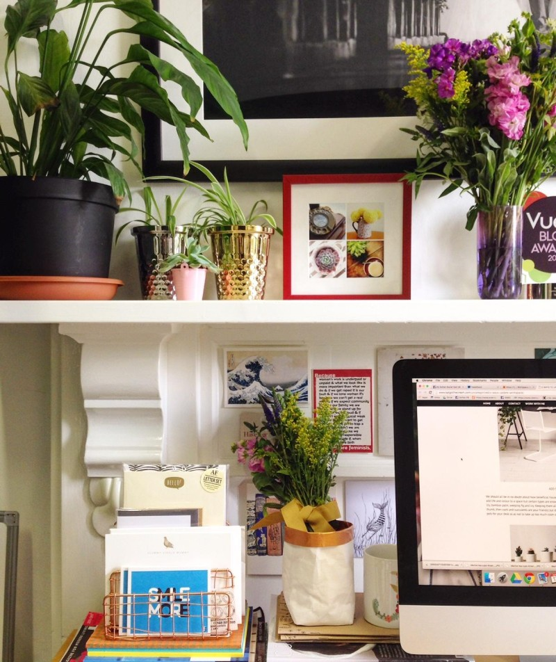 botanical interiors desk workspace