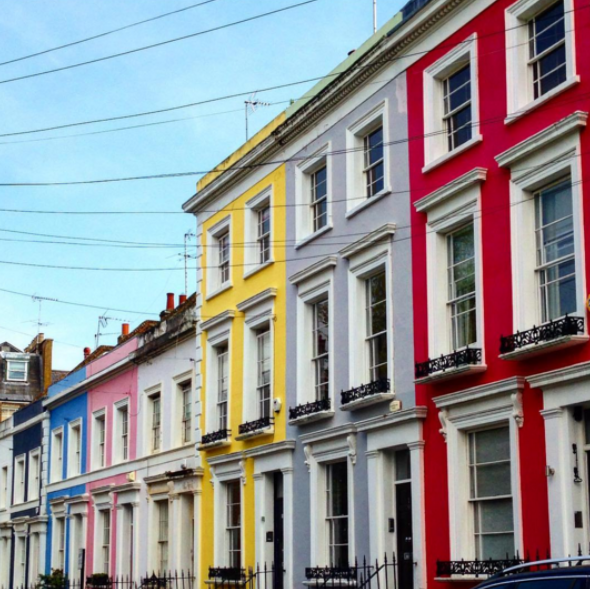 Notting Hill colourful houses London