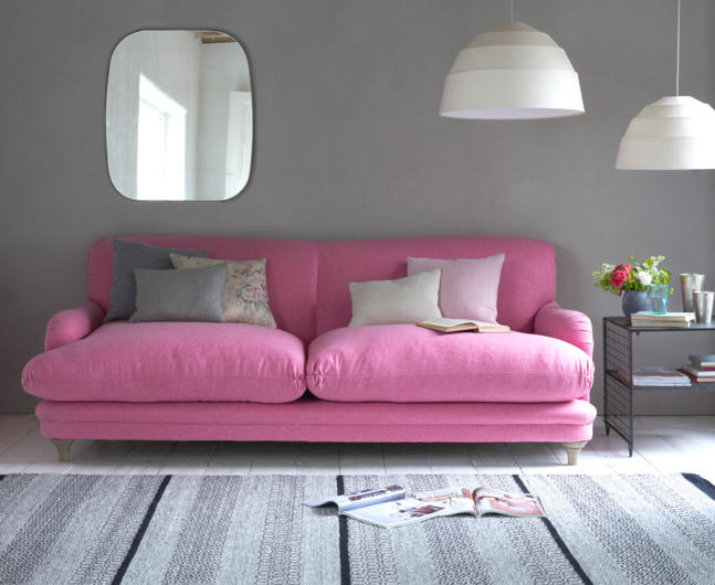 pink pudding sofa velvet loaf