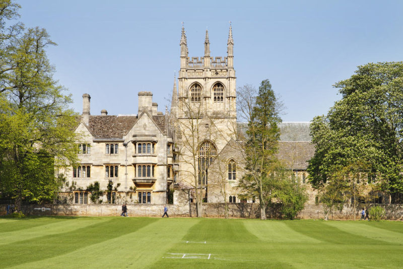 university building Oxford church and cricket pitch