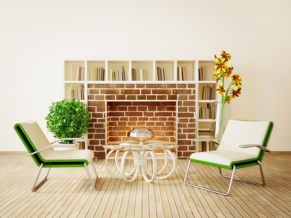 interiors modern fireplace with bookshelves