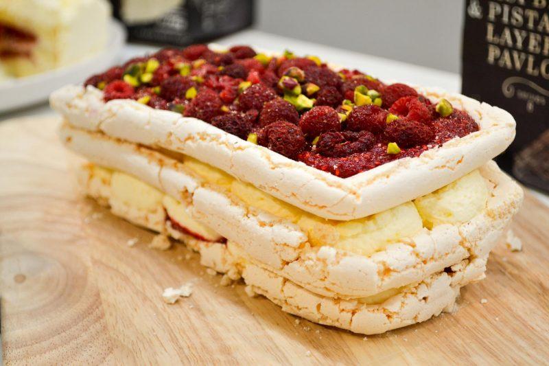 raspberry and pistachio layered pavlova