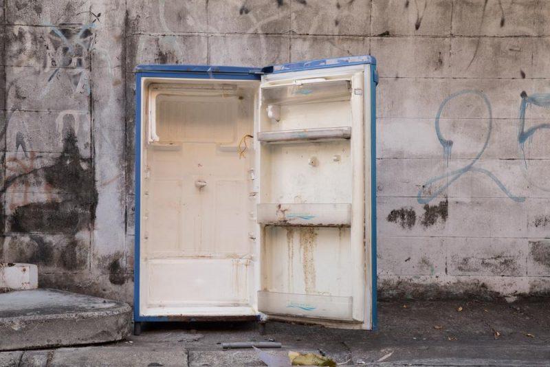 dirty old fridge