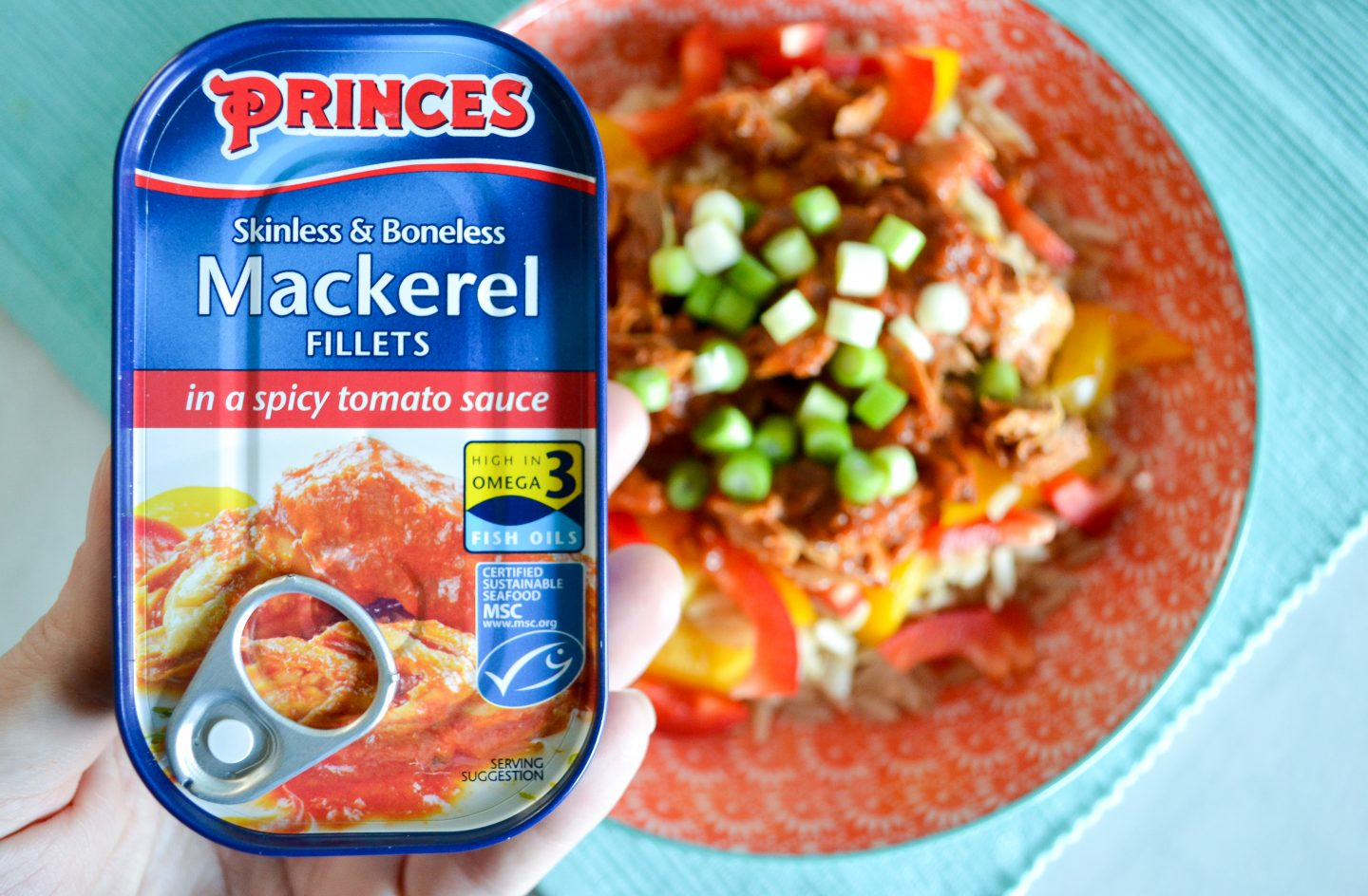 mackerel with rice and peppers