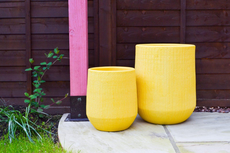 yellow plant pots