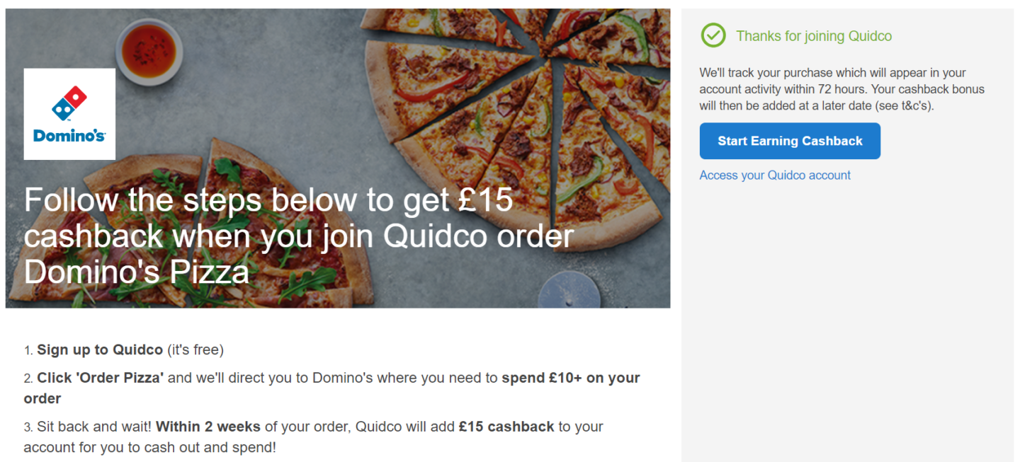 Dominos cashback offer Quidco