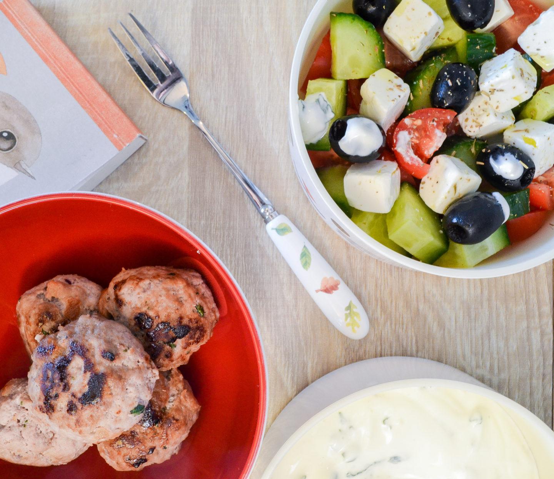 Greek lamb meatballs and Greek salad recipe