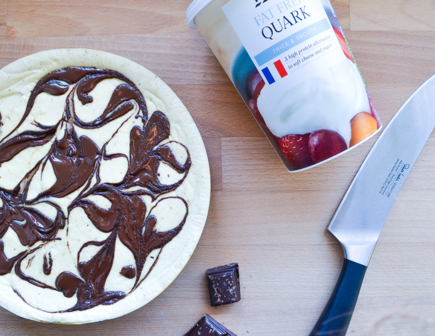 Quark chocolate ginger cheesecake
