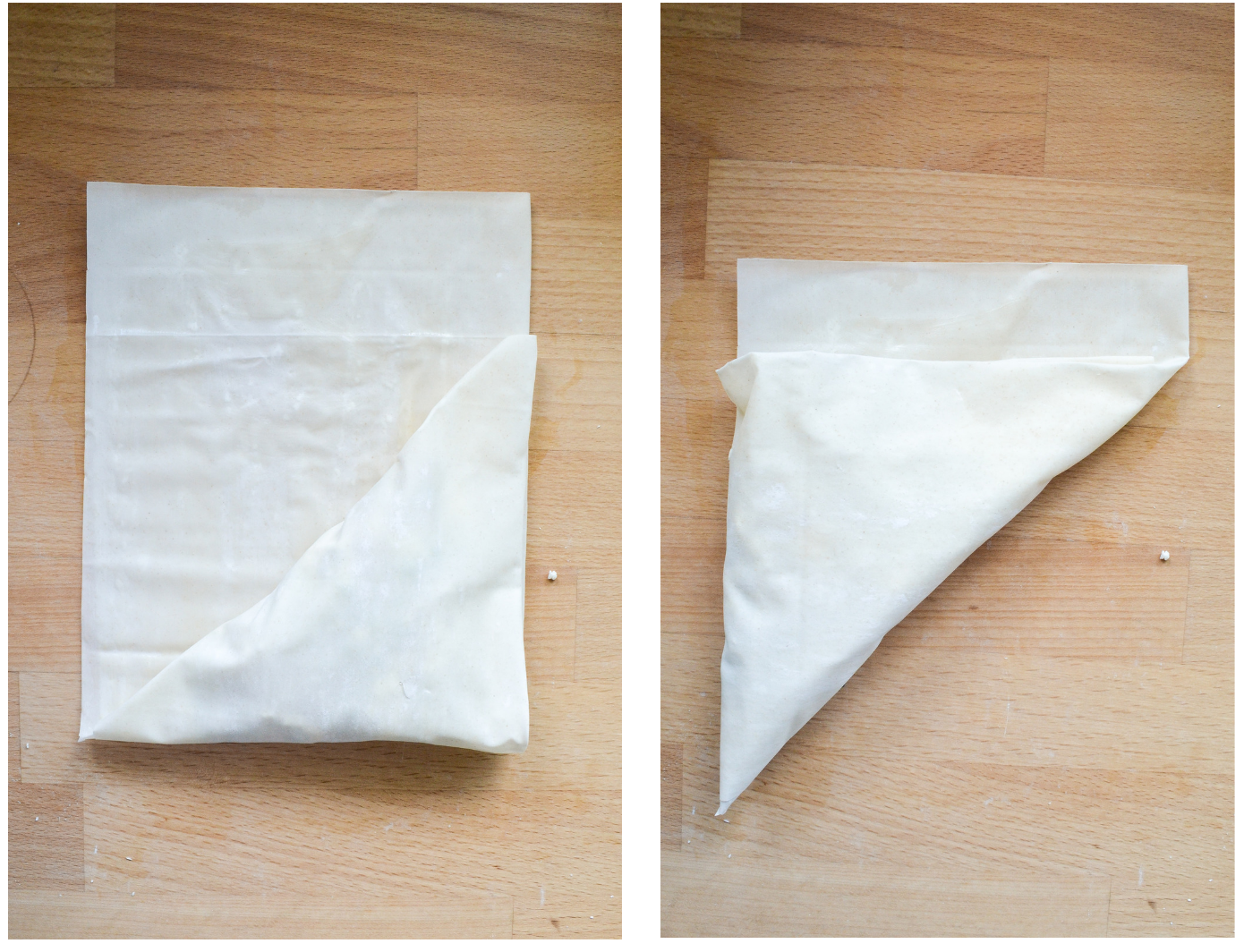 How to make filo pastry triangles