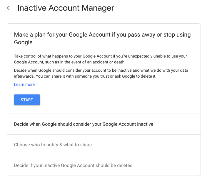 How to set up Google Inactive Account manager