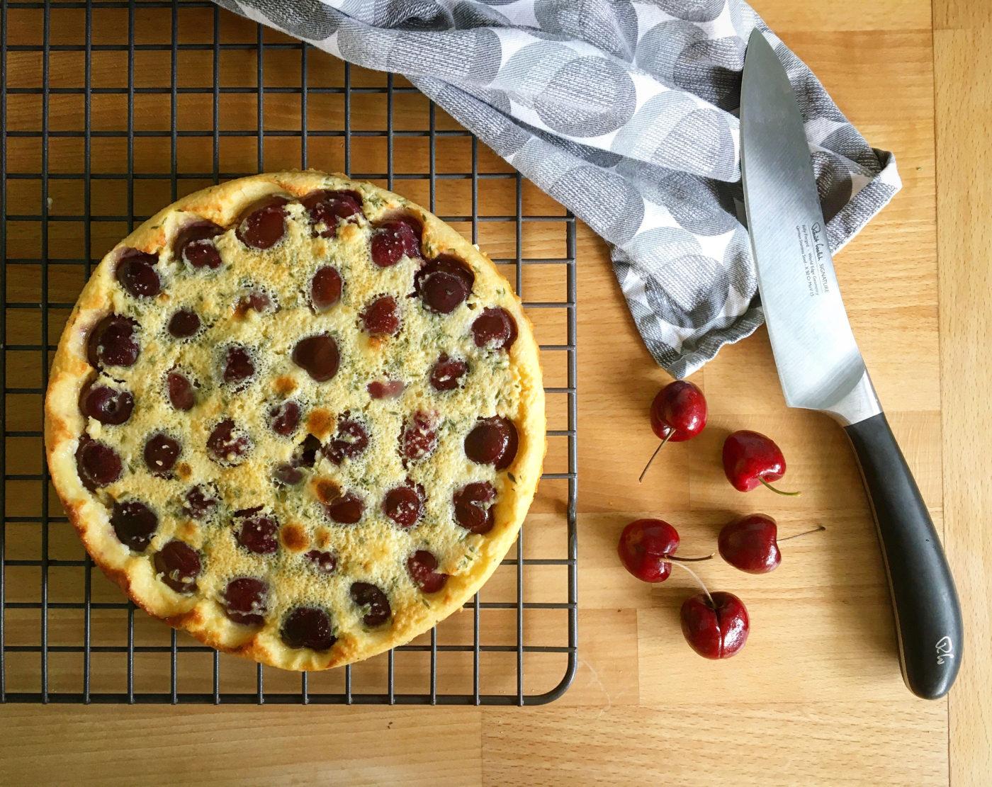 Gluten free cherry clafoutis with thyme
