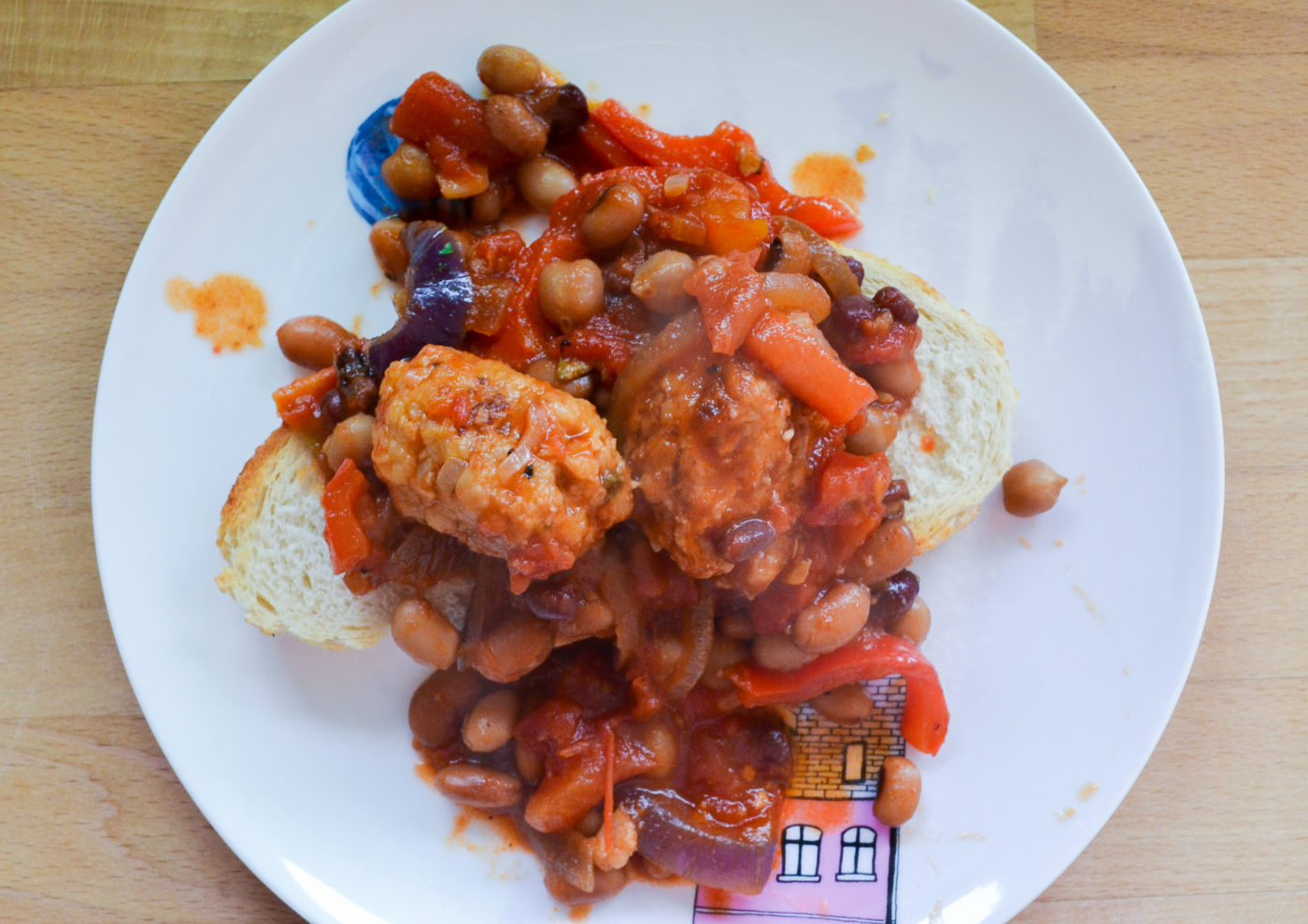 homemade baked beans and sausages