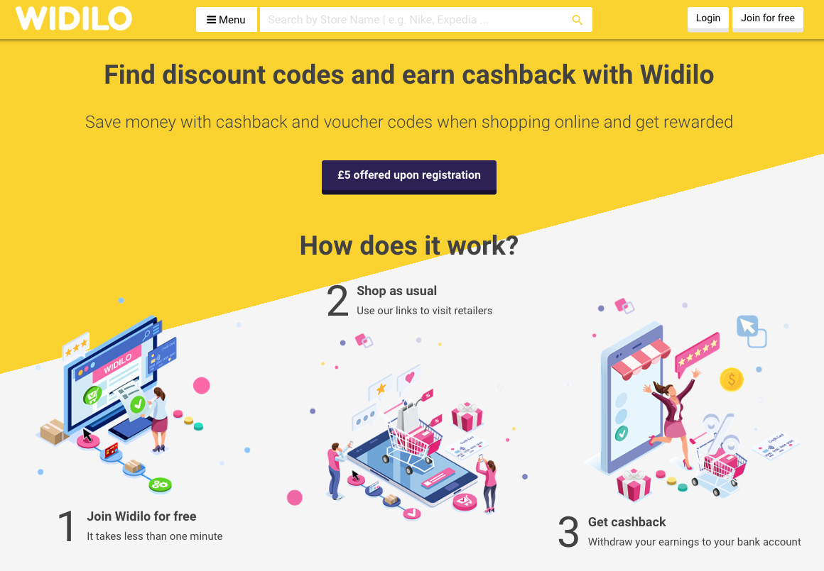 Widilo cashback offers