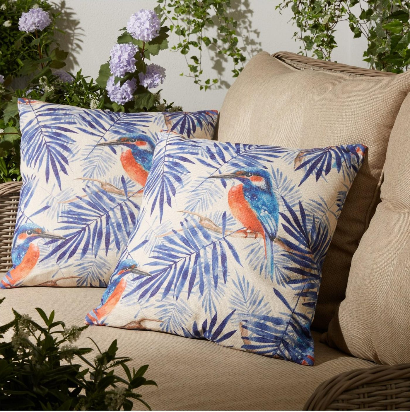 kingfisher garden cushion